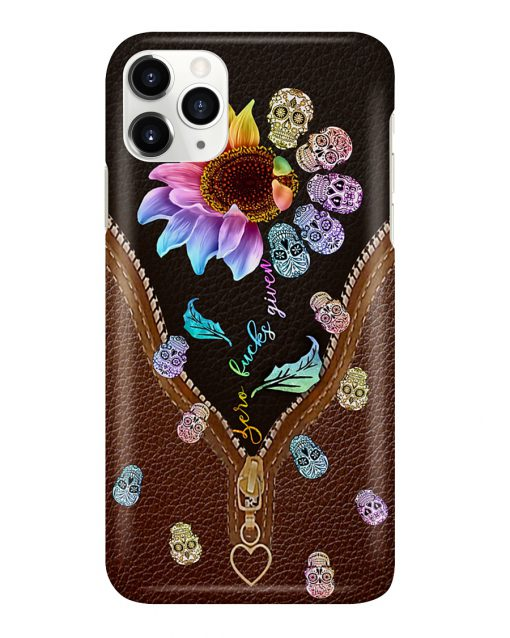 Zero Fuck Given Rainbow Leather Sugar Skull phone case 11