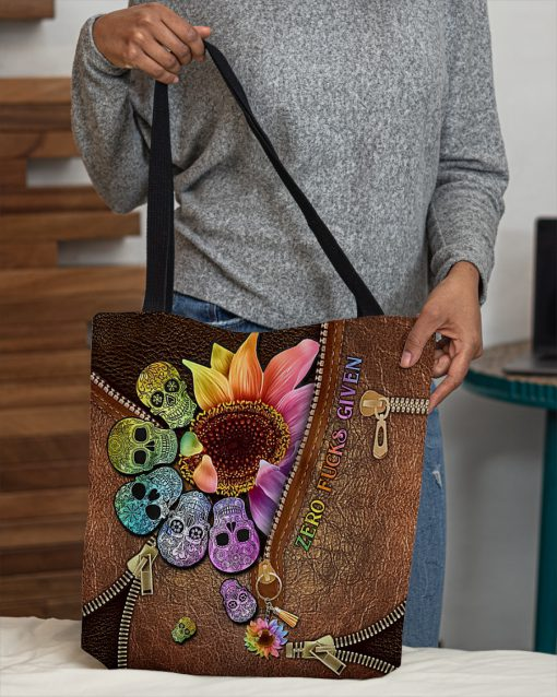 Zero Fuck Given Skull Sunflower as leather zipper tote bag