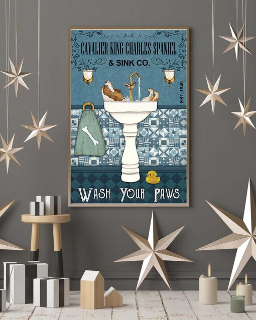 avalier King Charles Spaniel Bath Soap Company Wash Your Paws Poster 2