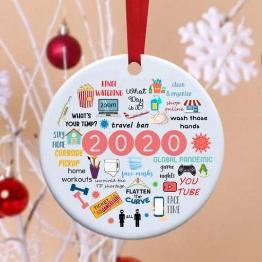 2020 Annual Events Stay Home Binge-watching zoom Christmas Ornament1