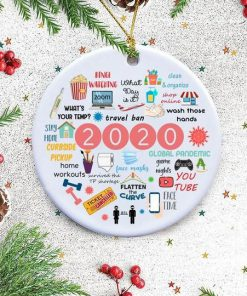 2020 Annual Events Stay Home Binge-watching zoom Christmas Ornament4