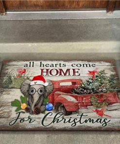 All Hearts Come Home For Christmas – Elephant Doormat 1