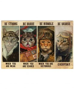 Be strong when you are weak Be brave when you are scared Be awesome everyday Cat Pilot poster 1