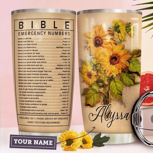 Bible Emergency Numbers Sunflower personalized tumbler