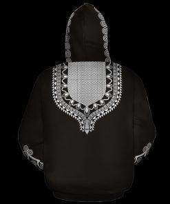 Black African Unisex Dashiki 3D All Over Print Hoodie 1