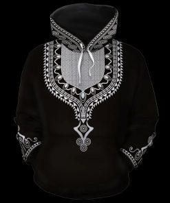 Black African Unisex Dashiki 3D All Over Print Hoodie