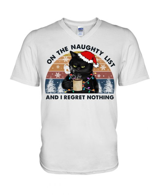 Cat On The Naughty List And I Regret Nothing Christmas v-neck