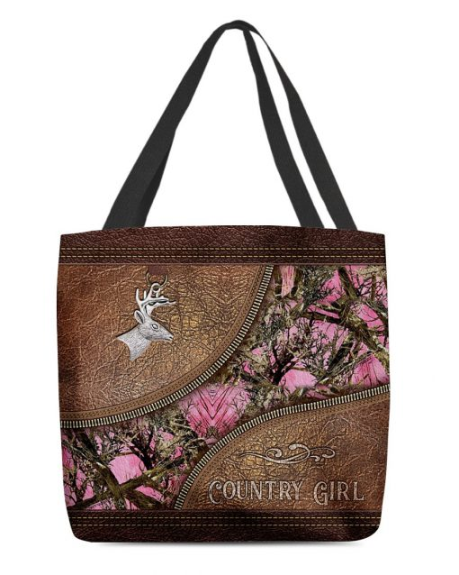 Country Girl Deer Hunting Camo as leather zipper tote bag