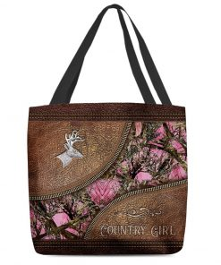 Country Girl Deer Hunting Camo as leather zipper tote bag4