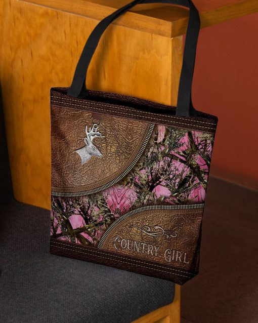 Country Girl Deer Hunting Camo as leather zipper tote bag6