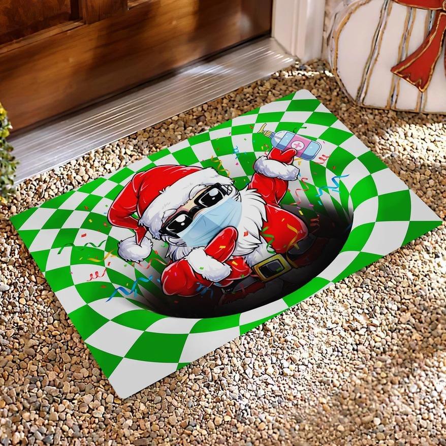 Dabbing Santa Quarantine Christmas Optical illusion 3D Hole Doormat 1
