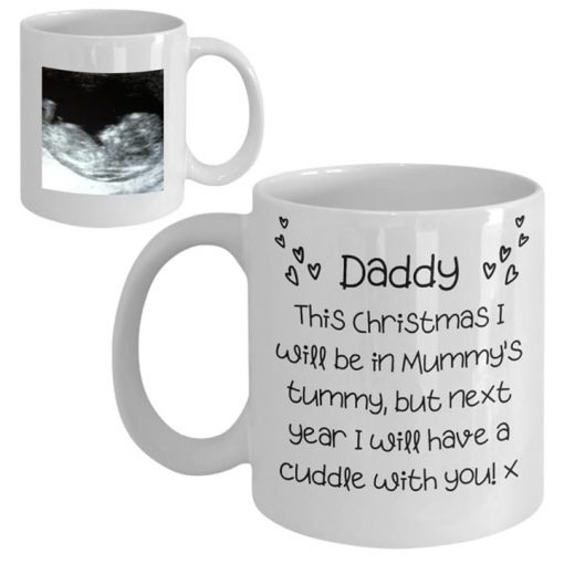 Daddy This Christmas I will be in Mummy's tummy but next year I will have a cuddle with you personalized mug