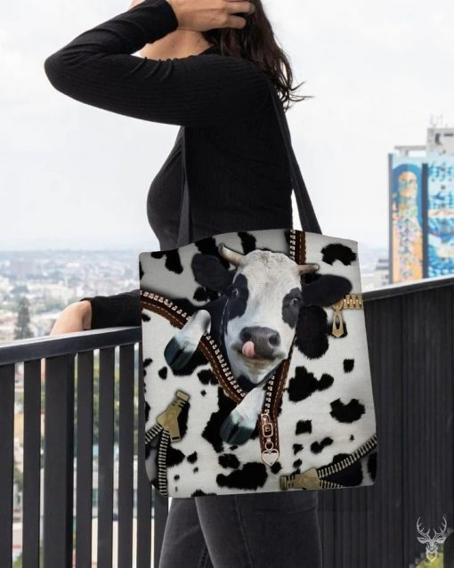 Dairy Cow zipper all over print tote bag