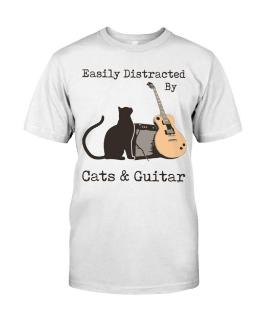 Easily distracted by cats and Guitar T-shirt