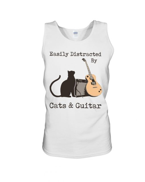 Easily distracted by cats and Guitar tank top
