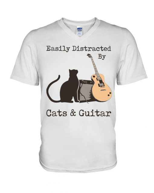 Easily distracted by cats and Guitar v-neck