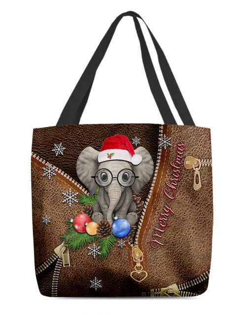Elephant Merry Christmas as leather zipper tote bag 1