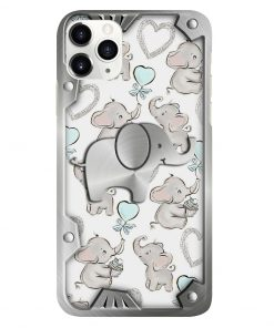 Elephants Metal pattern phone case1