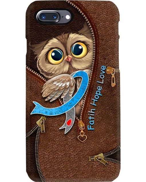 Faith Hope Love Diabetes awareness Owl as leather zipper phone case
