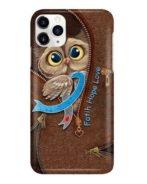 Faith Hope Love Diabetes awareness Owl as leather zipper phone case1