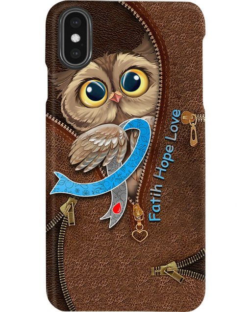 Faith Hope Love Diabetes awareness Owl as leather zipper phone case2