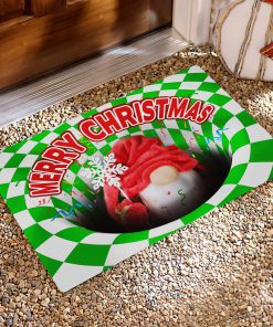 Gnome Christmas Optical illusion 3D Hole Doormat