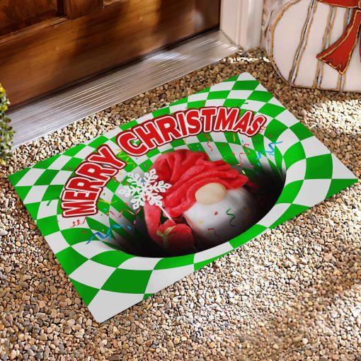 Gnome Christmas Optical illusion 3D Hole Doormat