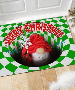 Gnome Christmas Optical illusion 3D Hole Doormat1