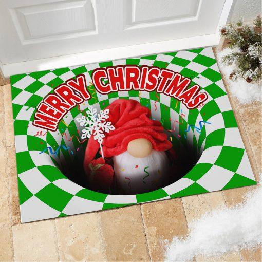 Gnome Christmas Optical illusion 3D Hole Doormat1