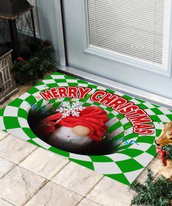 Gnome Christmas Optical illusion 3D Hole Doormat2