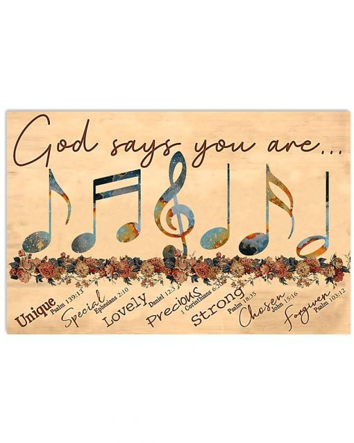 God says you are unique special lovely precious strong chosen capable forgiven Music poster