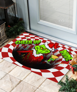 Grinch Cheer Up Dude Optical illusion 3D Hole Doormat
