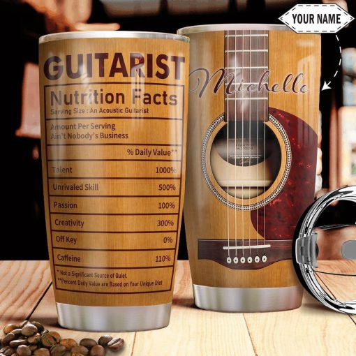 Guitarist Nutrition Facts personalized tumbler