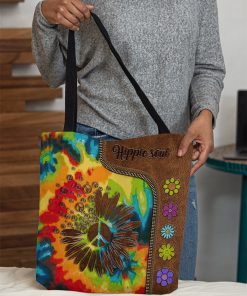 Hippie soul leather pattern All-over print tote bag 1