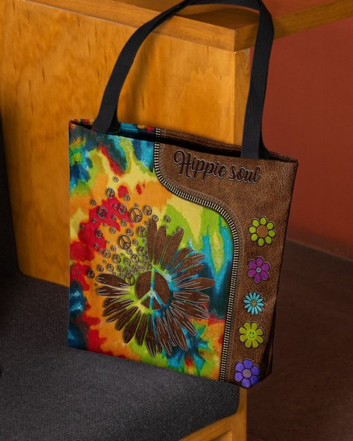Hippie soul leather pattern All-over print tote bag