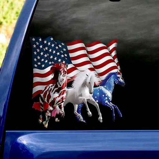 Horses American flag stickers