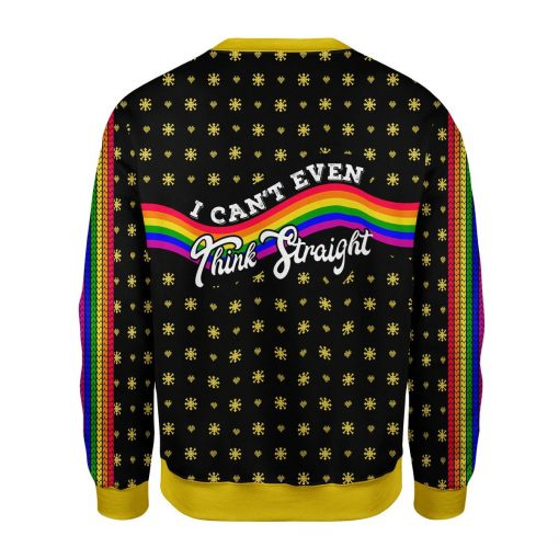 I Can't Think Straight Rainbow LGBT Flag Ugly Christmas Sweater 1