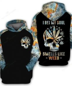 I bet my soul smells like weed 3D all over Printed Hoodie 1