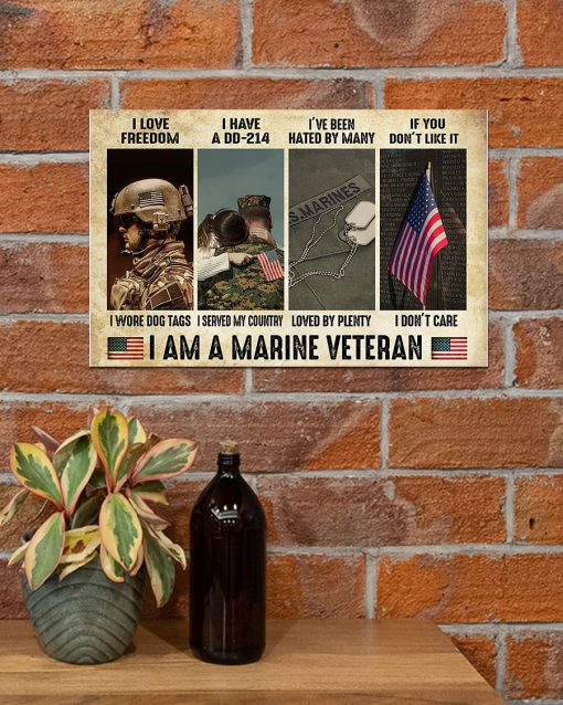 I love freedom I wore dog tags I have a DD-214 I served my country I am a Marine Veteran poster 1