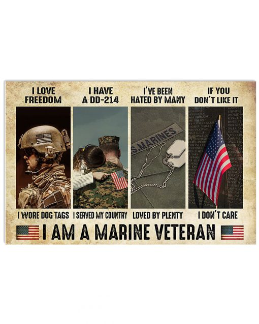 I love freedom I wore dog tags I have a DD-214 I served my country I am a Marine Veteran poster
