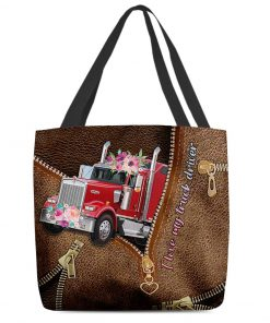 I love my truck driver as leather zipper tote bag 1