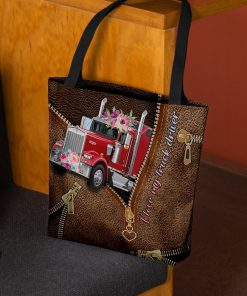 I love my truck driver as leather zipper tote bag 2