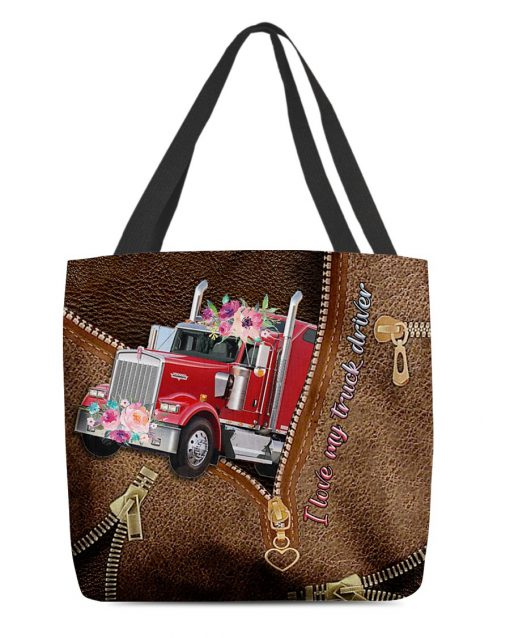 I love my truck driver as leather zipper tote bag
