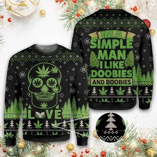 I'm A Simple-Man I Like Doobies and Boobies Skull Ugly Christmas Sweaters