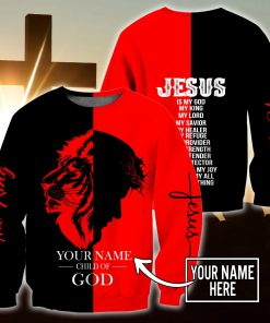 Jesus Child of God The King Lion Customize Name All Over Printed 3D sweatshirt