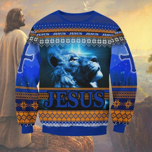 Jesus Lion 3D ugly christmas sweater