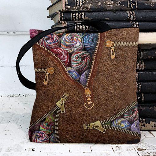 Knitting Yarn as leather zipper tote bag