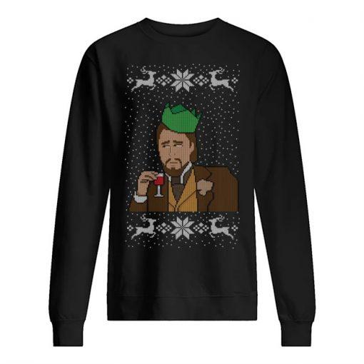 Leonardo DiCaprio Laughing meme Christmas sweatshirt
