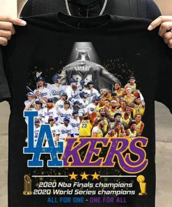 Los Angeles Lakers 2020 NBA finals champions 2020 World Series champions All for one - One for all shirt