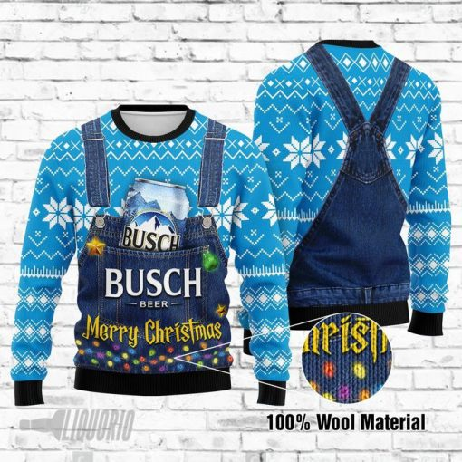Merry Christmas Busch Light Beer All Over Print Ugly Christmas Sweater